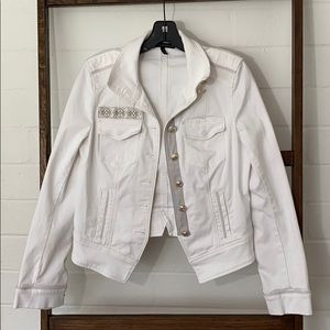 WHBM white denim jacket